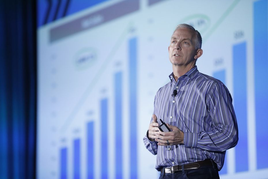 Lee Bird, CEO of At Home Group, speaking at a recent store manager's conference.
