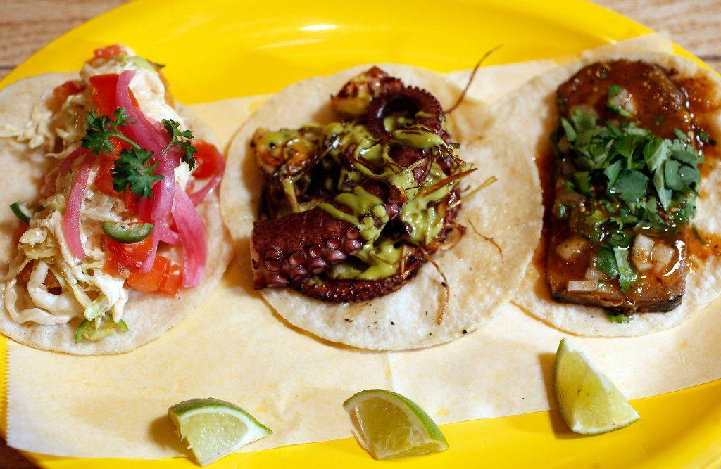 Pescado taco, octopus taco and lengua taco at Revolver Taco Lounge (Vernon Bryant/The Dallas Morning News)