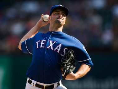 Texas Rangers starting pitcher Taylor Guerrieri (46) pitches during the seventh eighth inning of an MLB game between the Texas Rangers and the Seattle Mariners on Sunday, September 1, 2019 at Globe Life Park in Arlington.