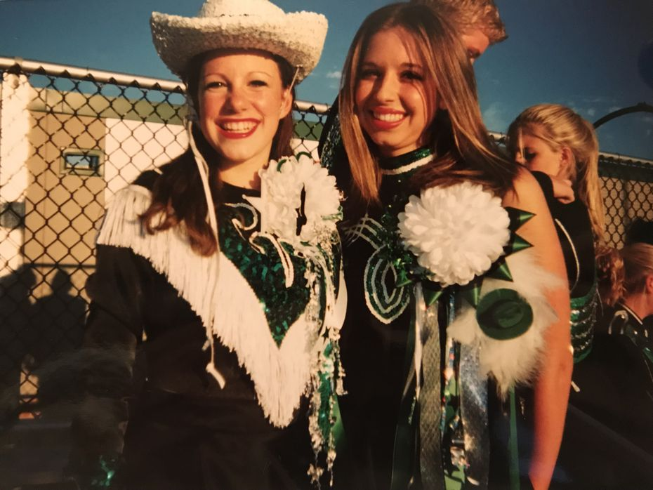 Tiney Ricciardi (left) as a member of the Emerald Belles drill team circa homecoming 2004.
