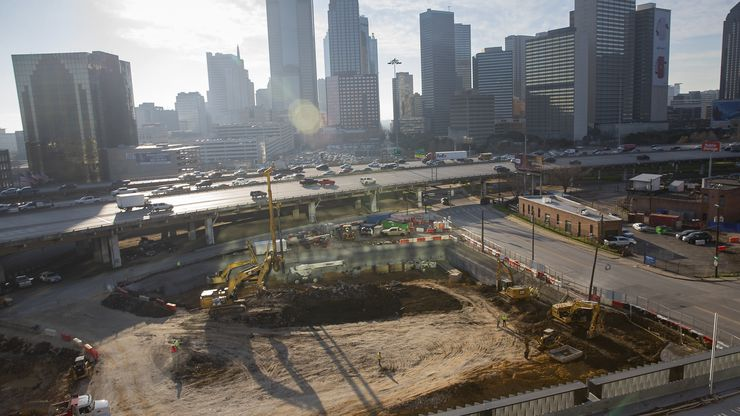 Ongoing construction on Uber's new corporate office seen from the company's current Deep Ellum office on Jan. 27, 2020 in Dallas.