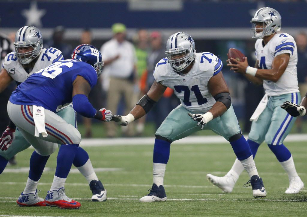 New York Giants defensive tackle Jay Bromley (96) rushes as Dallas Cowboys offensive guard La'el Collins (71) defends during an NFL football game, Sunday Sept. 11,  2016, in Arlington, Texas. (AP Photo/Roger Steinman)