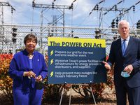 """Senator John Cornyn (R-TX) joins U.S. Representative Eddie Bernice Johnson (TX-30) during a press conference outside an electrical substation to announce their bipartisan legislation to help weatherize Texas's energy grid in Dallas on April 8, 2021. The """"Power On"""" Act aims to prevent a future severe storm, like the one Texas saw in February, from crippling our electrical grid and leaving countless Texans without electricity for days on end.  It will assist Texas power providers, distributors, and suppliers with funding to winterize their facilities and infrastructure to prepare for future extreme weather events."""