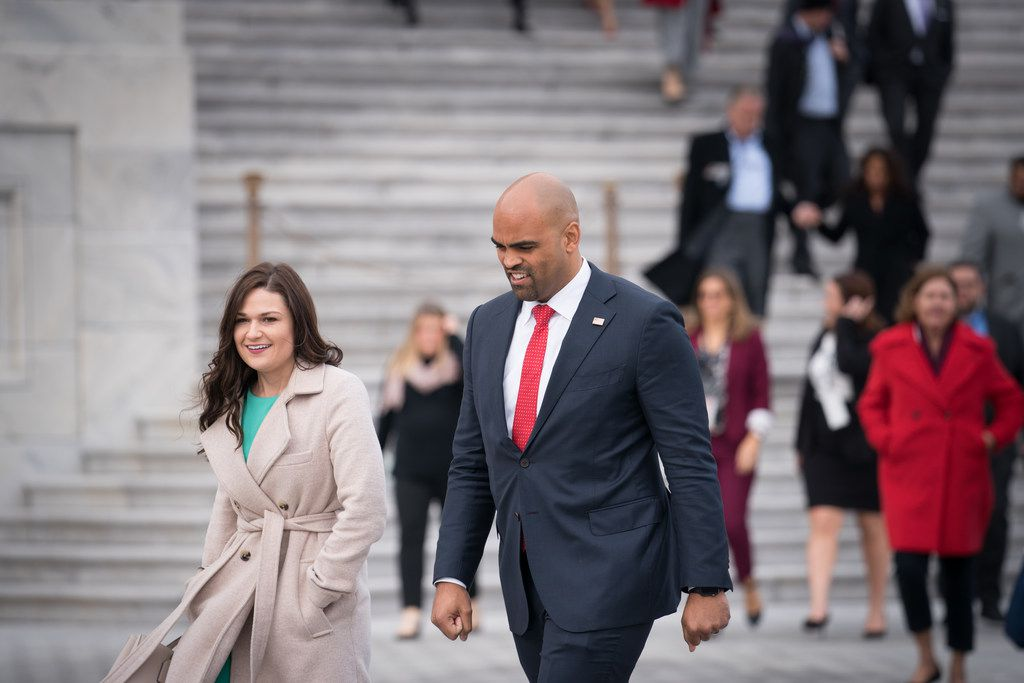 Democrats Abby Finkenauer of Iowa and Colin Allred of Texas head to a group photo for incoming freshmen members of the House of Representatives, outside the Capitol in Washington, Nov. 14, 2018. House Republicans were to vote on their leadership today, though Democrats will not vote on their leaders until later in November. (Erin Schaff/The New York Times)
