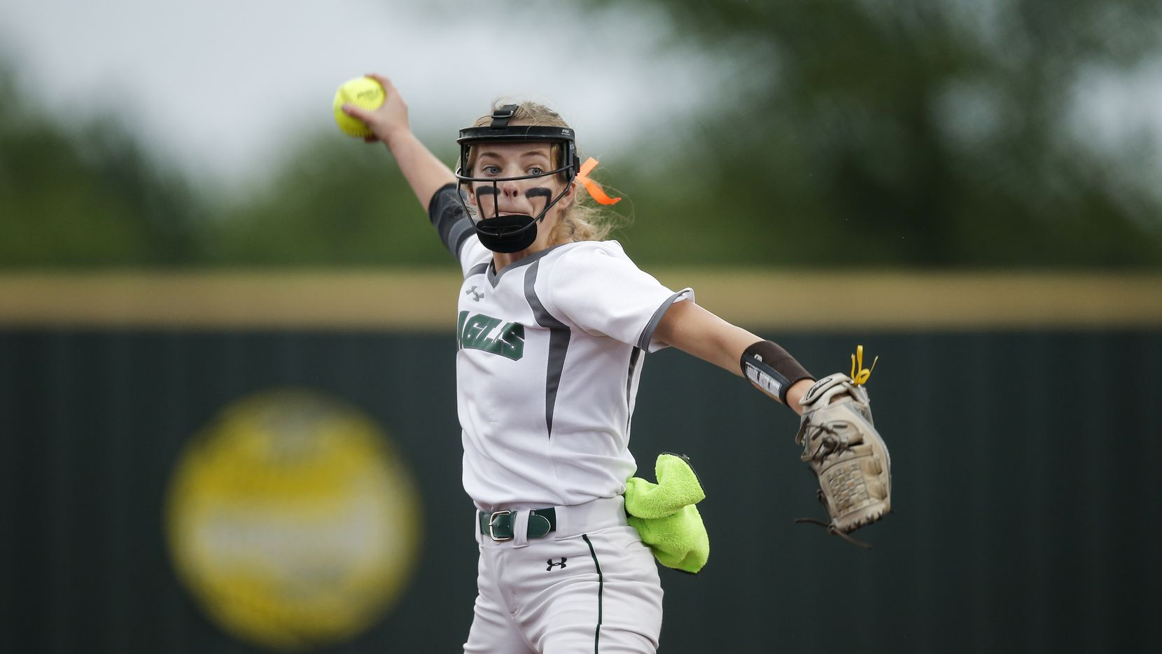 Prosper starting pitcher Elissa Griffin throws during game one of a best of three series of a Class 6A bi-district playoff softball game against Flower Mound Marcus at Prosper High School, Thursday, April 29, 2021.