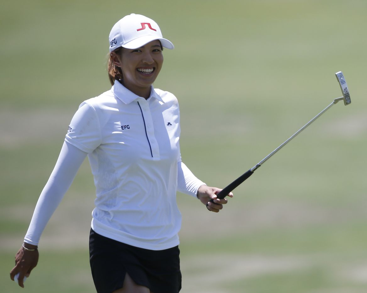 Professional golfer Tiffany Chan smiles after making birdie on the 17th hole during round one of the LPGA VOA Classic on Thursday, July 1, 2021, in The Colony, Texas. (Elias Valverde II/The Dallas Morning News)