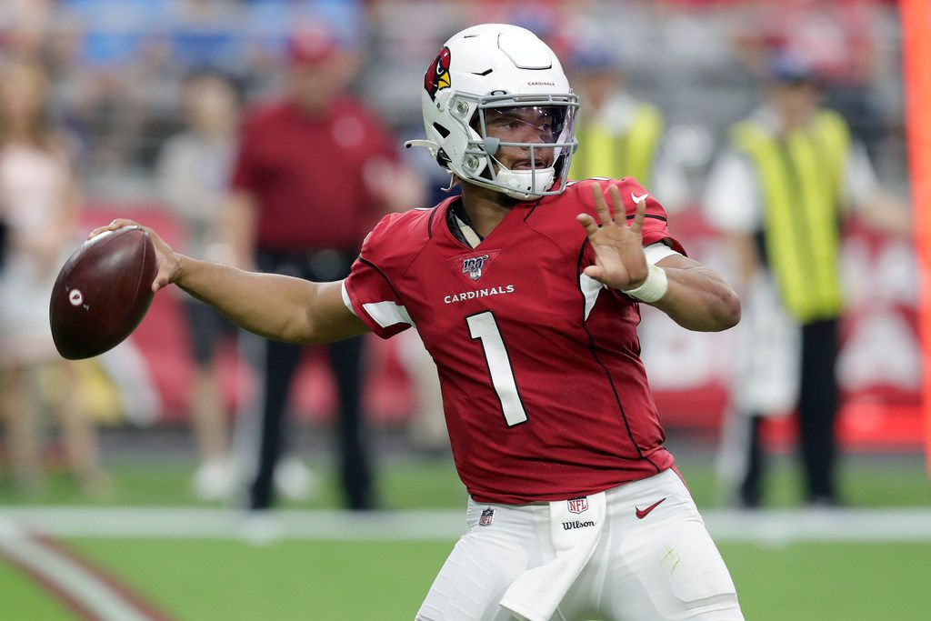 Arizona Cardinals quarterback Kyler Murray throws during the second half of an NFL football game against the Detroit Lions, Sunday, Sept. 8, 2019, in Glendale, Ariz. (AP Photo/Darryl Webb)