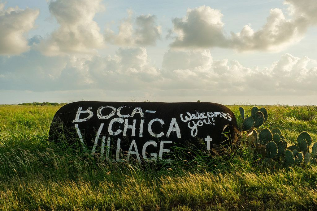 A painted tank marks the entrance of Boca Chica Village near the SpaceX Space Launch Facility in Boca Chica, Texas, on Sunday, Sept. 29, 2019.