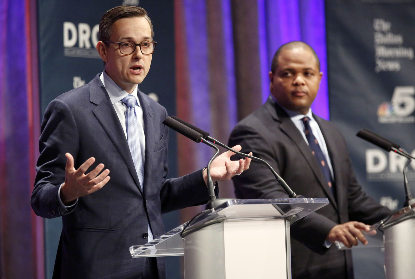 Dallas City Council member Scott Griggs (left) and State Rep. Eric Johnson, D-Dallas, participate in a televised one-hour debate sponsored by The Dallas Morning News, NBC5 and the Dallas Regional Chamber at El Centro College in downtown Dallas, Tuesday, May 14, 2019.