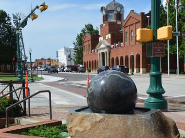 A new 'Kugel' sculpture was installed on Main Street in Historic Downtown Grapevine on June 22, 2020.
