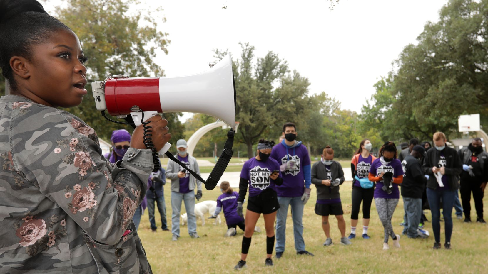 Tramonica Brown asked volunteers to connect with the Not My Son nonprofit on social media before they headed out to clean up the neighborhood around the Martin Luther King Jr. Community Center in South Dallas on Oct. 25, 2020.