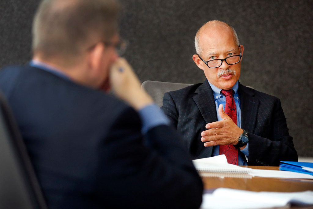 Judge John Creuzot visits with The Dallas Morning News' editorial board in a candidate forum a month before Election Day. (Tom Fox/Staff Photographer)