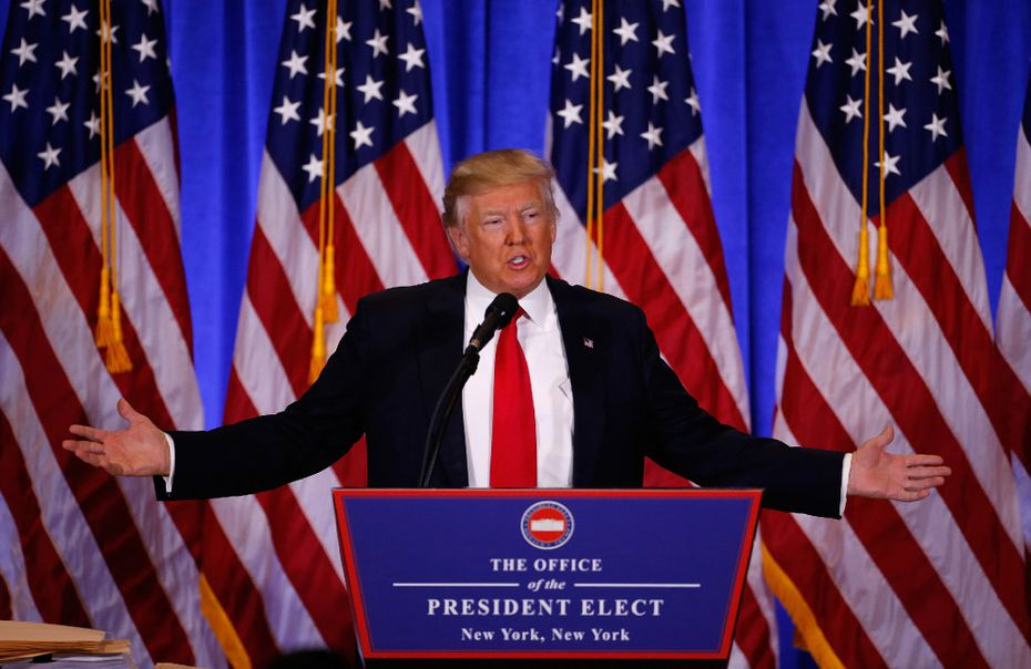 President-elect Donald Trump answers a question during a press conference on Jan. 11, 2017, at Trump Tower in New York City. (Gary Hershorn/Zuma Press/TNS)
