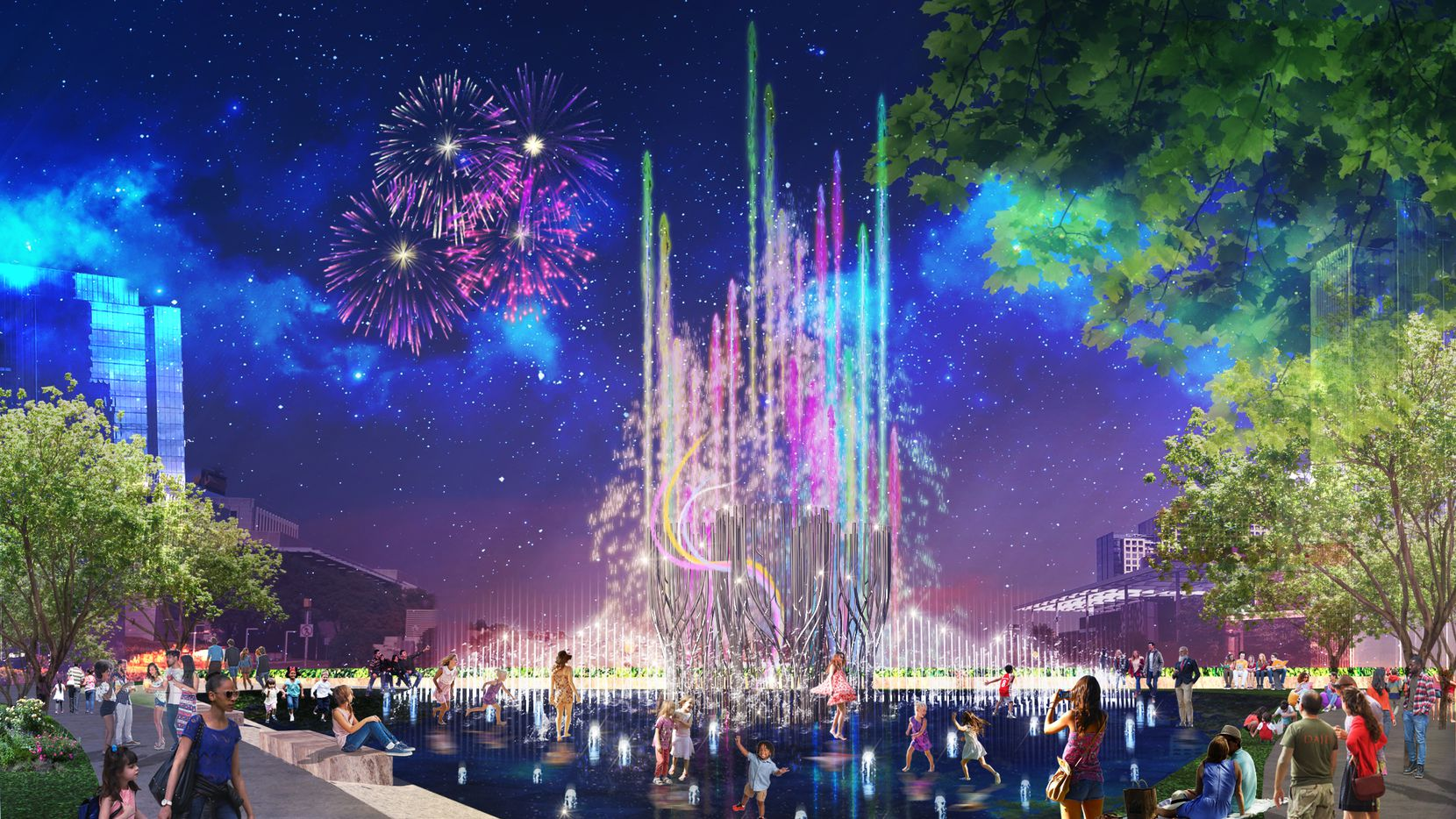 Artist rendering of the Nancy Best Fountain in Klyde Warren, which will feature the world's tallest water jets. Construction on the $10 million project will begin in the summer with completion expected in December 2021.