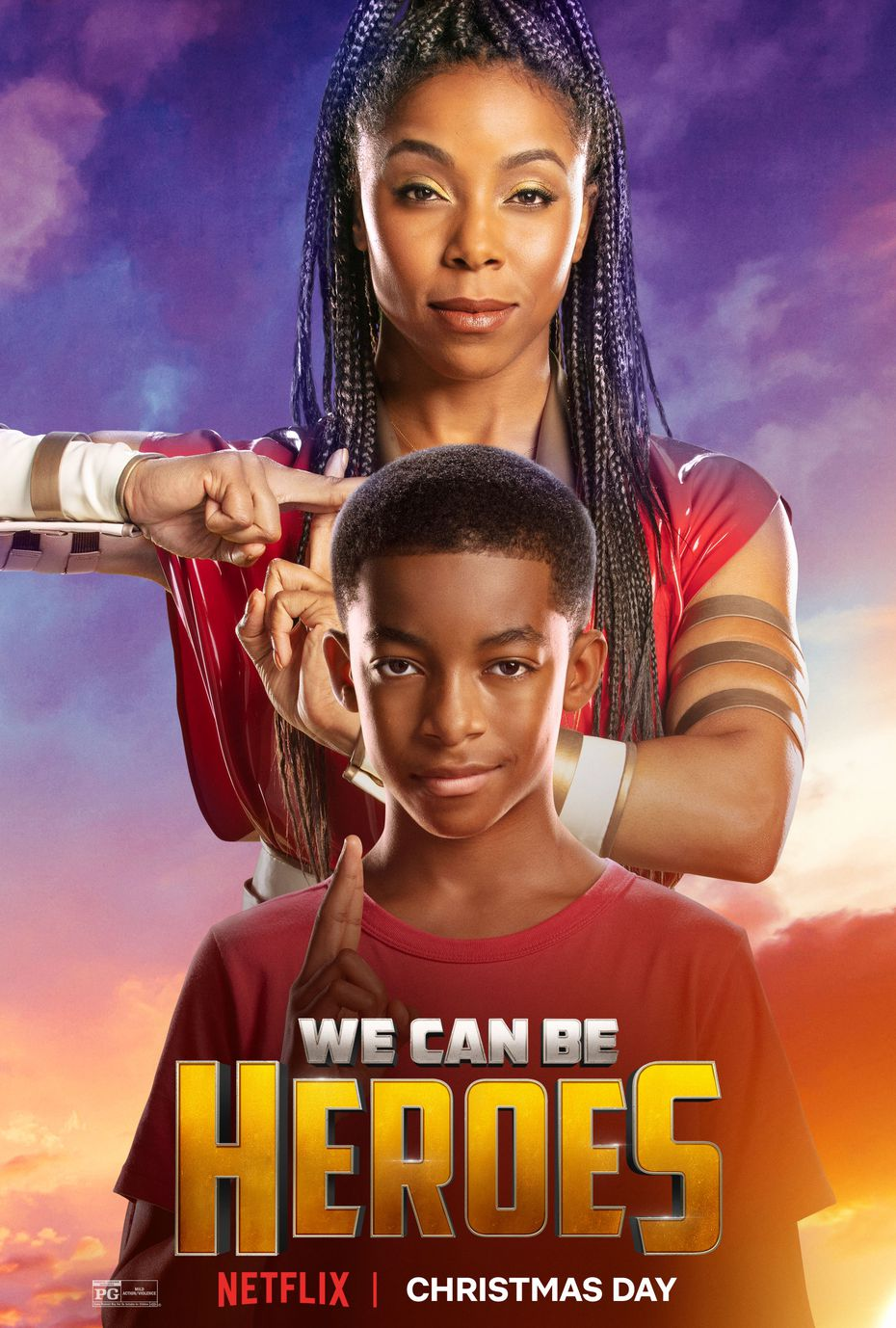 """Brittany Perry-Russell and Isaiah Russell-Bailey star in """"We Can Be Heroes,"""" which has been among Netflix's most-watched films since its release on Christmas Day."""