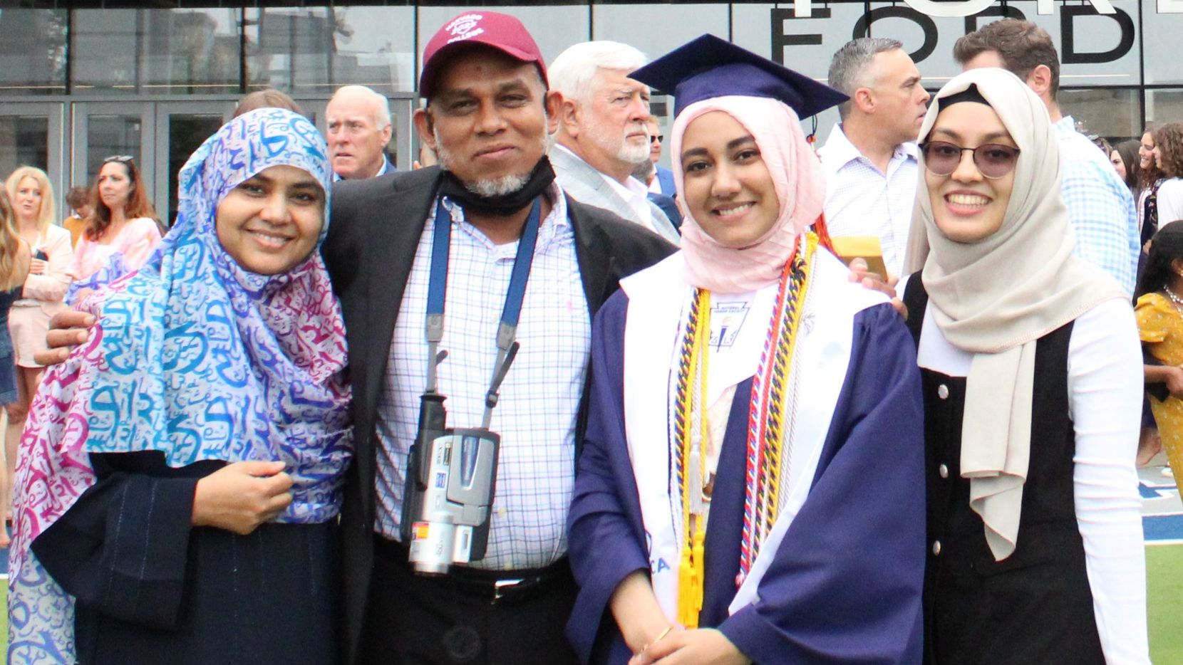 Valedictorian Labiba Uddin (second from right) celebrated her graduation from Wakeland High School on May 23, 2021, with parents Lipi Akter and Mohammad Abbas Uddin (left) and sister Aishah Alvi Uddin.