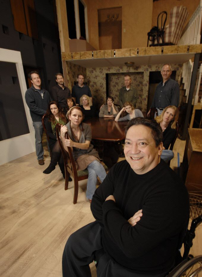 """Director Rene Moreno, front, with cast prior to a rehearsal of Tracy Lett's Pulitzer Prize drama """"August: Osage County,"""" at Watertower Theatre in Addison, Texas on March 22, 2012."""
