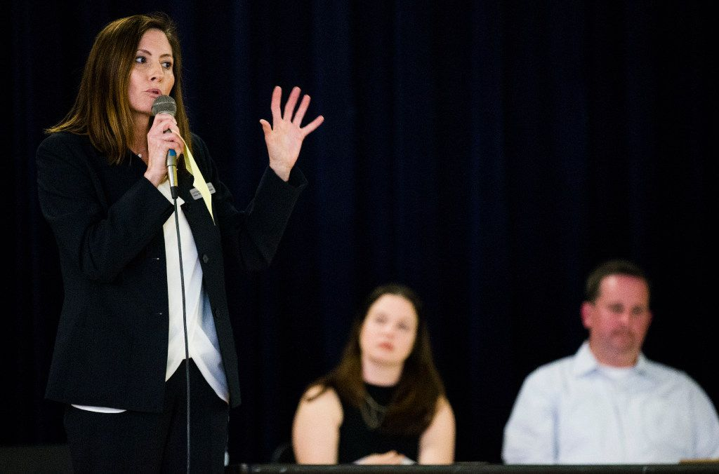 Dallas ISD District 2 board of trustee candidates Lori Kirkpatrick, left, and Dustin Marshall, right, participate in a forum moderated by Keri Mitchell on Tuesday, April 25, 2017 at Eduardo Mata Elementary School in Dallas. (Ashley Landis/The Dallas Morning News)