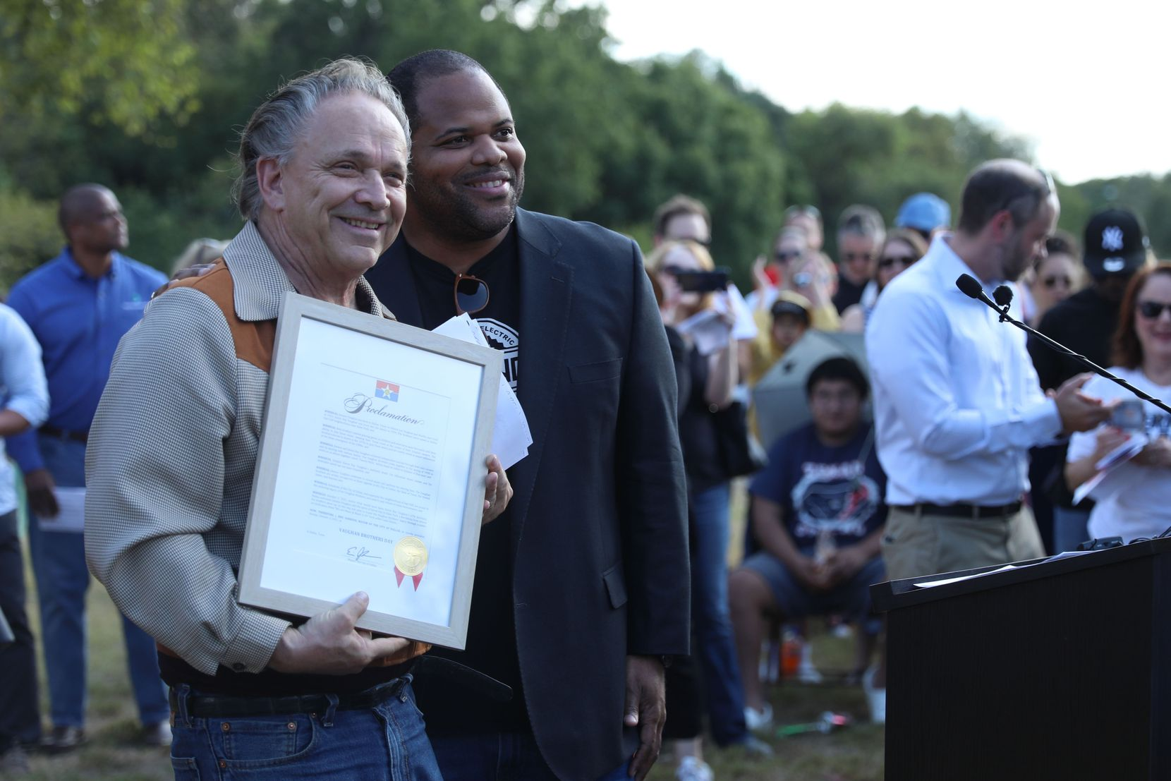 In the opening remarks of the art dedication at Kiest Park, Dallas Mayor Eric Johnson declares October 3, 2021, to be Vaughan Brothers Day. The celebration was held on what would've been Stevie Ray's 67th birthday. (Liesbeth Powers/Special Contributor)