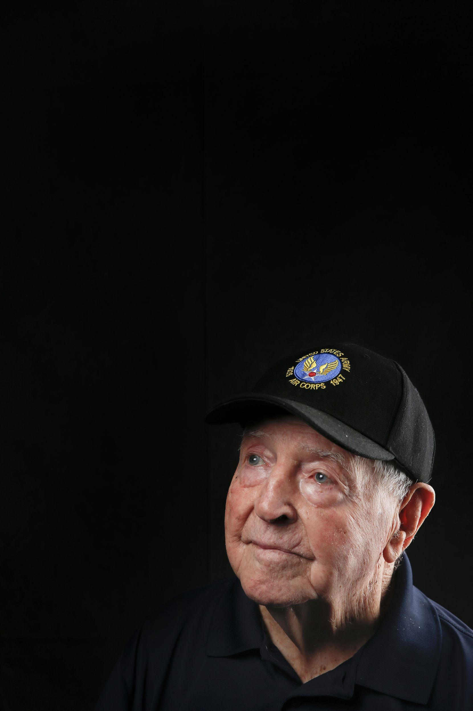 Ed Gray, 101, of Dallas, a first lieutenant who served as a World War II P-38, P-40, P-47 pilot in the 19th Fighter Squadron, is photographed during the Wings Over Dallas Airshow on Saturday, Oct. 26, 2019 in Dallas.
