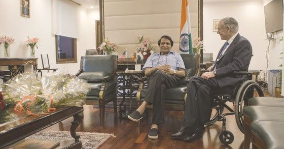 Gov. Greg Abbott met with India's Minister of Commerce and Industry and Civil Aviation, Suresh Prabhu, in New Delhi, India, on Wednesday, March 28. Abbott and Prabhu discussed the importance of trade between Texas and India. (Office of the Governor)