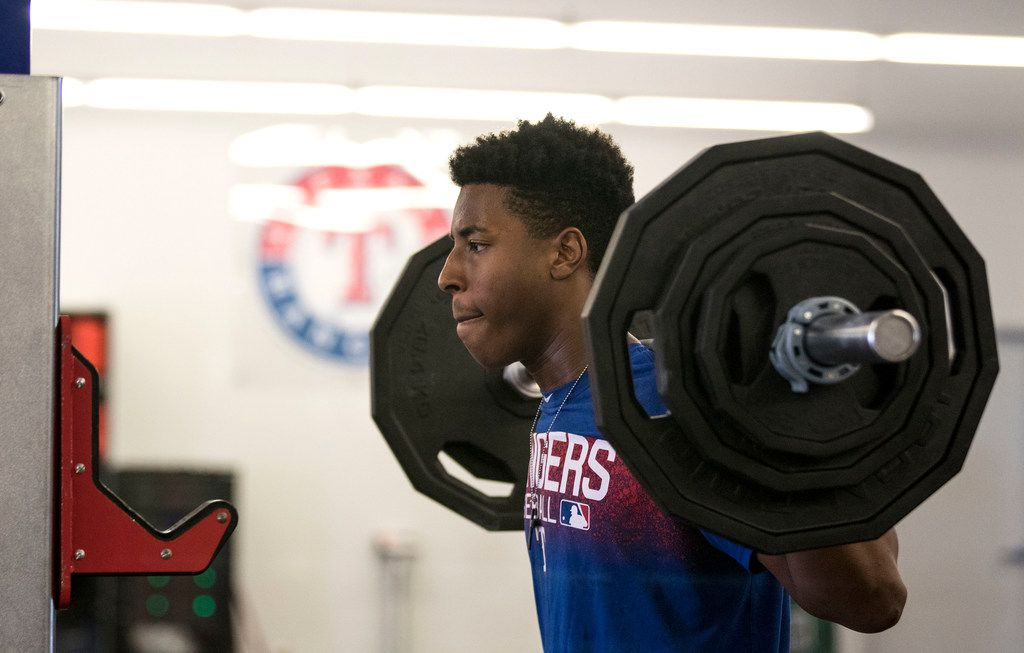 Texas Rangers' pitcher Destin Dotson works out at the Rangers' training facility Thursday, Aug. 9, 2018 in Surprise, Arizona. Dotson and other pitchers are learning from a program that is designed to hopefully prevent injury.(Darryl Webb/Special Contributor)