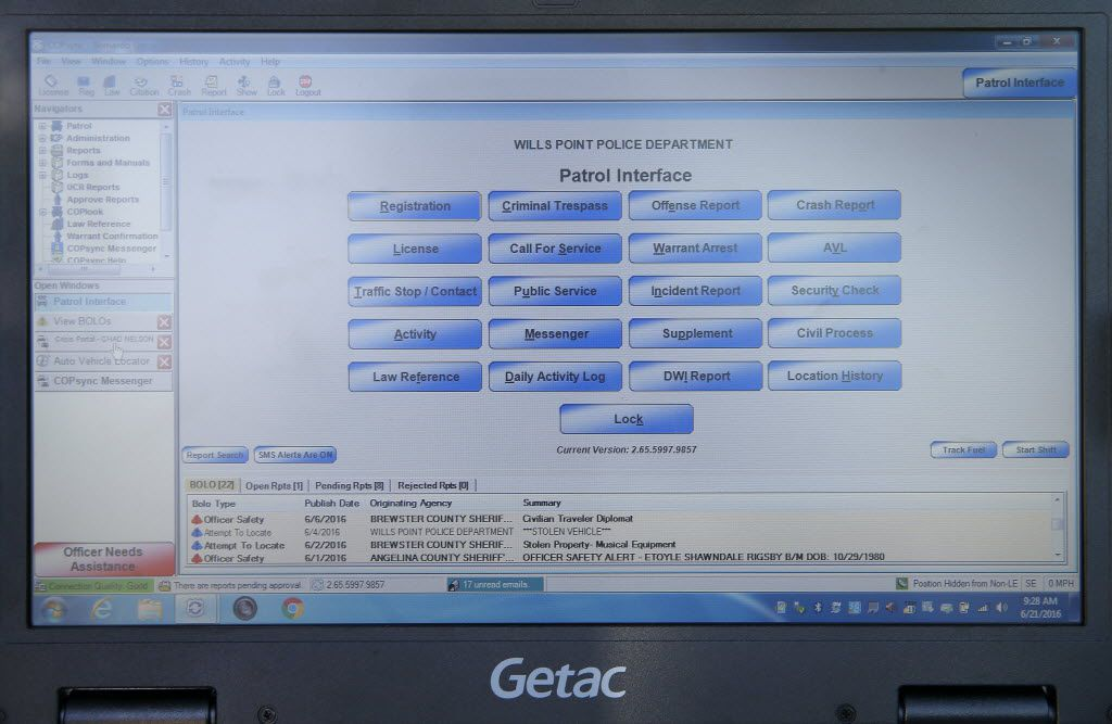 This is the main screen window of system using COPsync software, as seen from inside a patrol car.