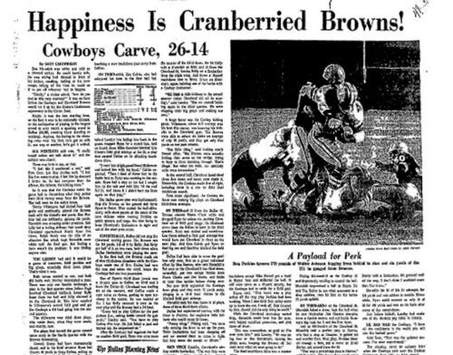 The Dallas Morning News, page 1B, Nov. 25, 1966    Cowboys vs. Browns coverage from Thanksgiving Day game. At the time, it was the largest crowd to ever see a sporting event in Dallas.