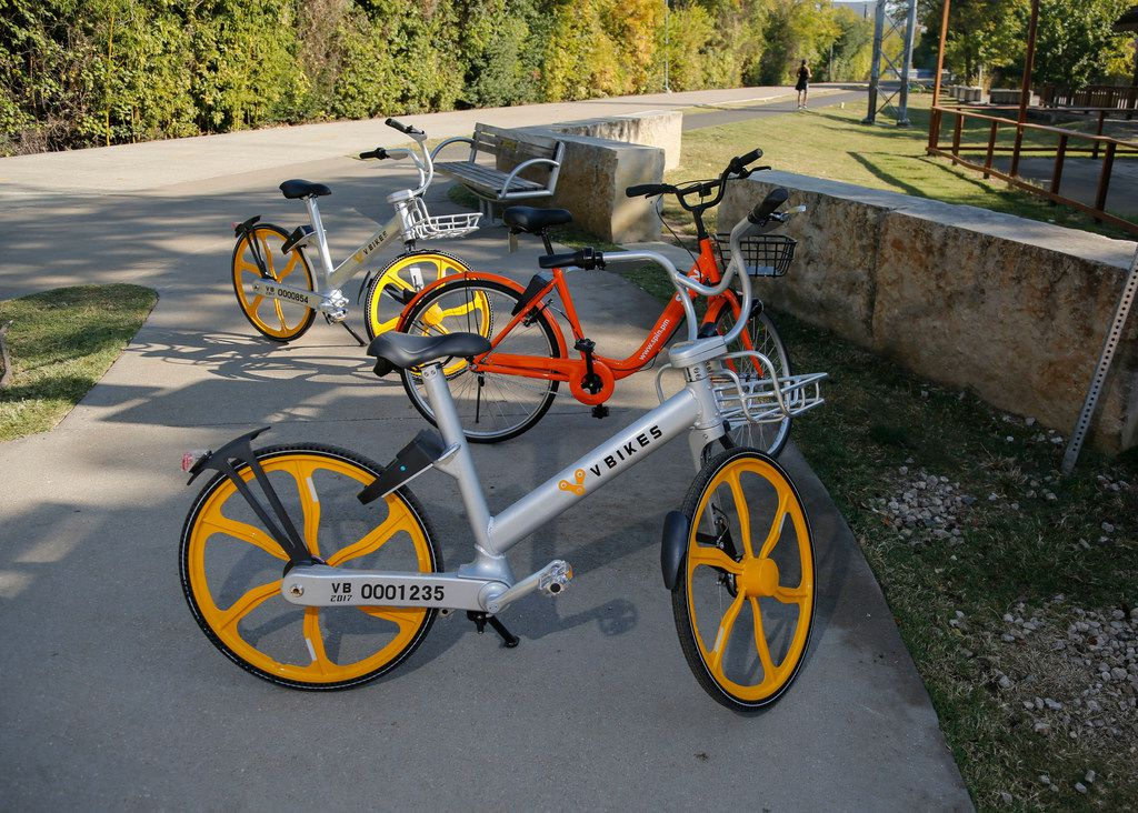 Two VBikes and a Spin bike are found along the Katy Trail on Wednesday.