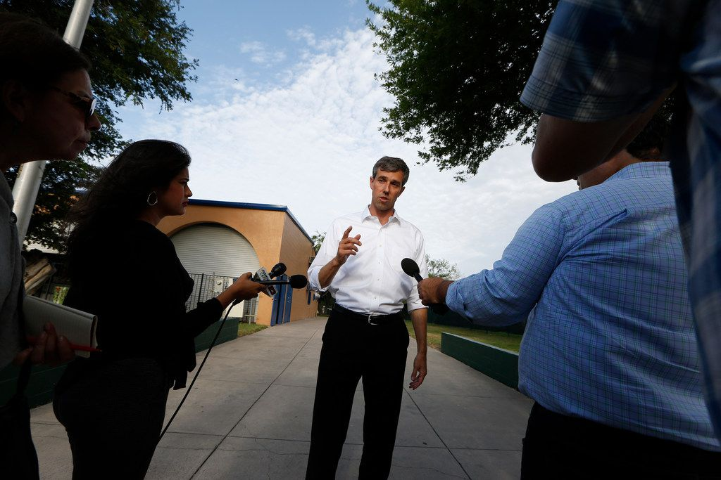 Beto O'Rourke, candidate for a Texas seat in the U.S. Senate, talks about the new zero tolerance of immigration at Memorial Park in Hidalgo on June 11, 2018. (Nathan Hunsinger/The Dallas Morning News)