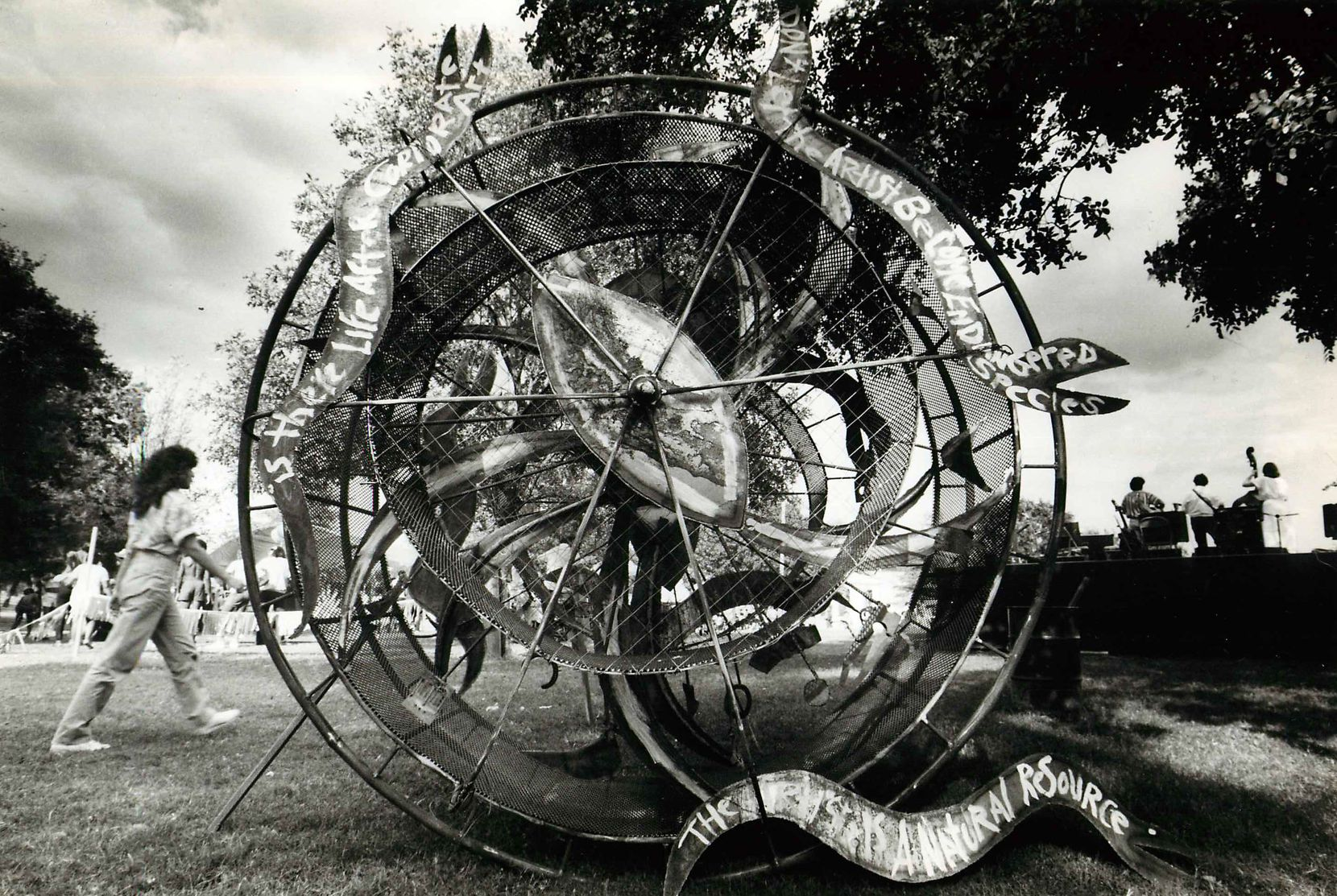 """Artist Greg Metz showed some of his early work at 500X Gallery near Fair Park. In 1985, this piece, """"Artist Misfortune Wheel,"""" won first place in the Oak Cliff Kinetic Sculpture Parade."""