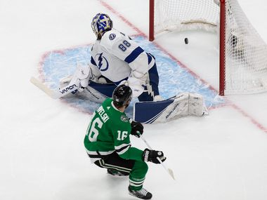 Joe Pavelski (16) of the Dallas Stars scores against goaltender Andrei Vasilevskiy (88) of the Tampa Bay Lightning during Game Four of the Stanley Cup Final at Rogers Place in Edmonton, Alberta, Canada on Friday, September 25, 2020.