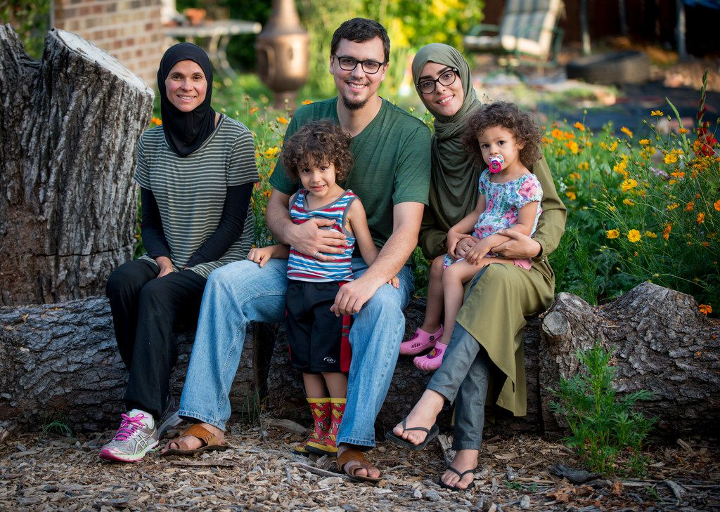 Jefferson Braga and his family on their property in Irving, where they grow vegetables for sale at farmers markets. From left: Jefferson's mom, Jill Braga, Jefferson, son Faris, Jefferson's wife, Soukaina Erridi, and daughter Eleen.