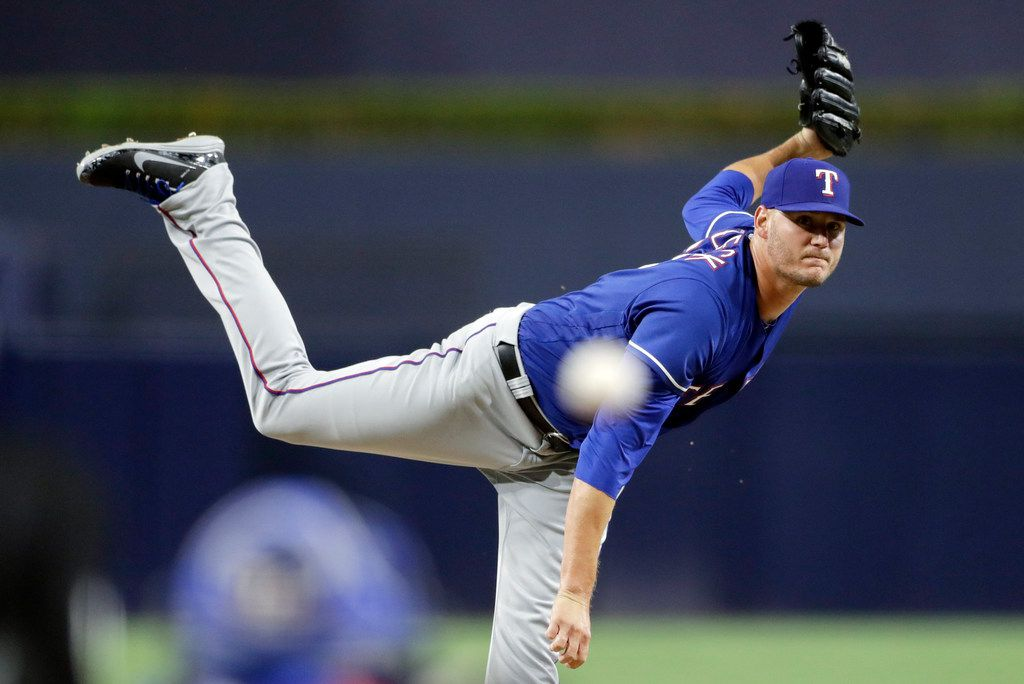 Texas Rangers pitcher Connor Sadzeck works against a San Diego Padres batter during the first inning of a game on Friday, Sept. 14, 2018, in San Diego. (AP Photo/Gregory Bull)