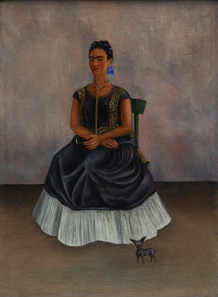 This painting is included in the new show at the Dallas Museum of Art. Here are the details: Frida Kahlo Itzcuintli Dog with Me (Perro Itzcuintli conmigo), c. 1938 Oil on canvas Overall: 27 15/16 x 20 15/32 in. (71 x 52 cm) Private Collection   2017 Banco de Mexico Diego Rivera Frida Kahlo Museums Trust, Mexico, D.F. / Artists Rights Society (ARS), New York Front (Framed)
