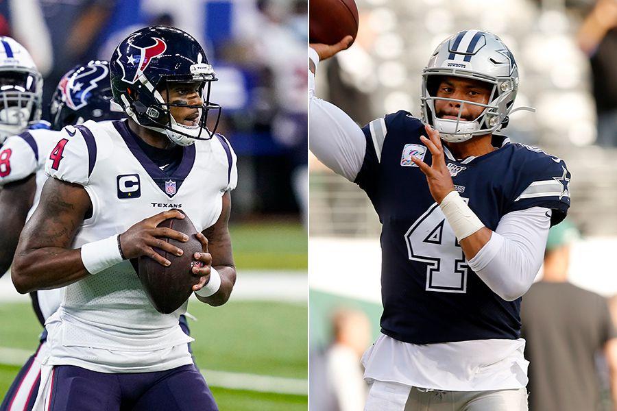 Texans quarterback Deshaun Watson (left) and Cowboys quarterback Dak Prescott. (Photos by Darron Cummings, Tom Fox)