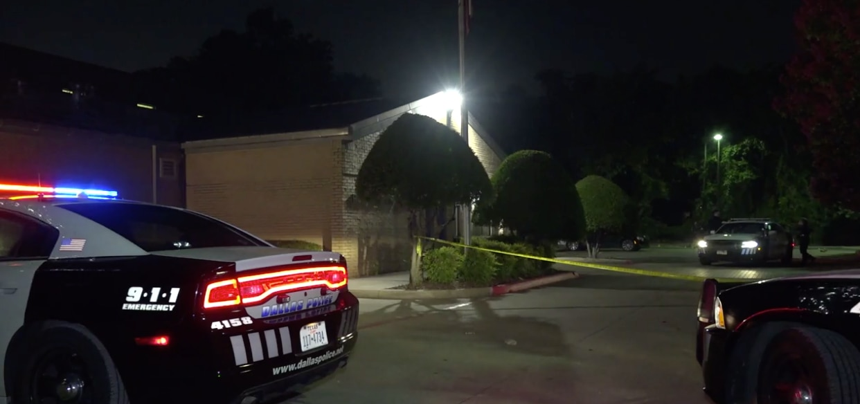 Dallas police at the scene of a fatal shooting in east Oak Cliff on July 4, 2020.