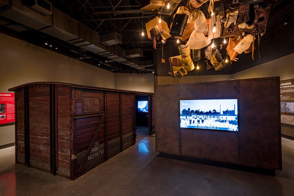 A restored Nazi-era boxcar is on display in the Holocaust/Shoah Wing of the museum.