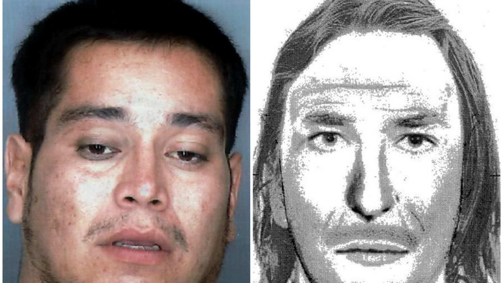 Charles Don Flores' mugshot bears little resemblance to a sketch based on an eyewitness's description given shortly after the murder.
