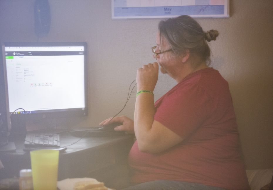 Elise Earnhart Bigony works from home on May 18, 2020, in Mesquite.