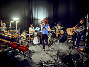 "Edie Brickell and New Bohemians rehearse in 2018. The group's new album ""Hunter and the Dog Star"" is due out this month."