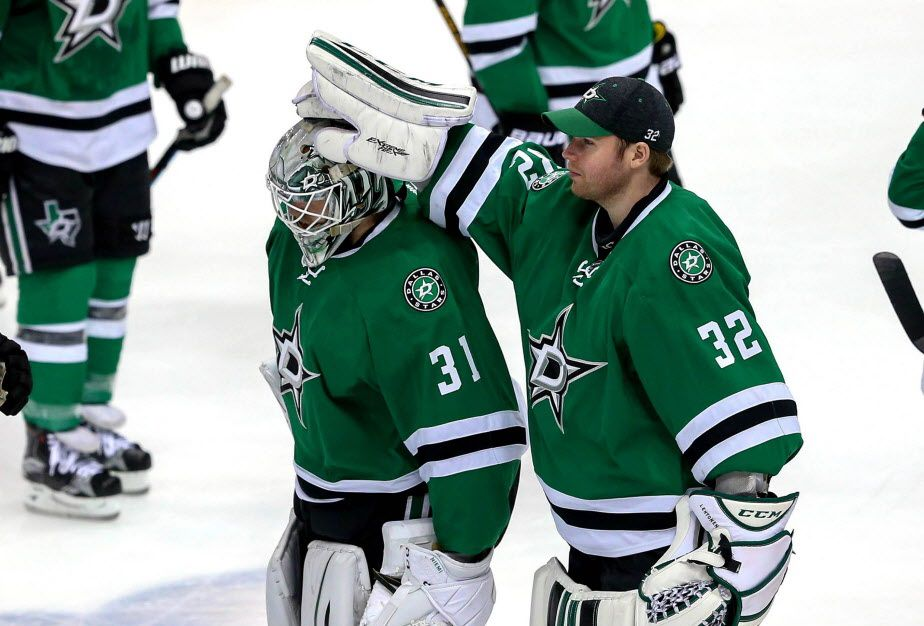 Dallas Stars goalies Antti Niemi (31) and Kari Lehtonen (32) skate off the ice after a 6-1 loss to the St. Louis Blues in Game 7 of the Western Conference semifinals at the American Airlines Center in Dallas, Wednesday, May 11, 2016. (Steve Nurenberg/Fort Worth Star-Telegram/TNS)