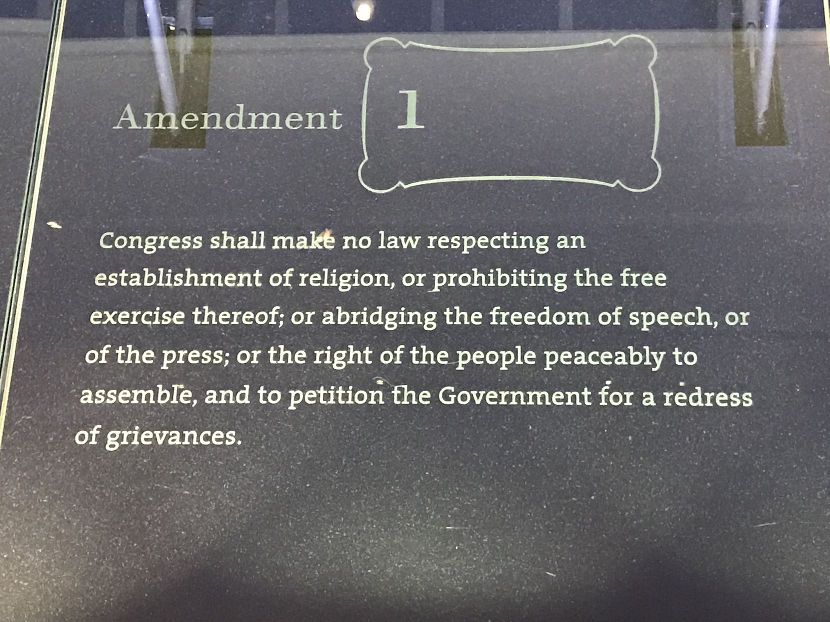 The First Amendment plaque at the National Constitution Center in Philadelphia.