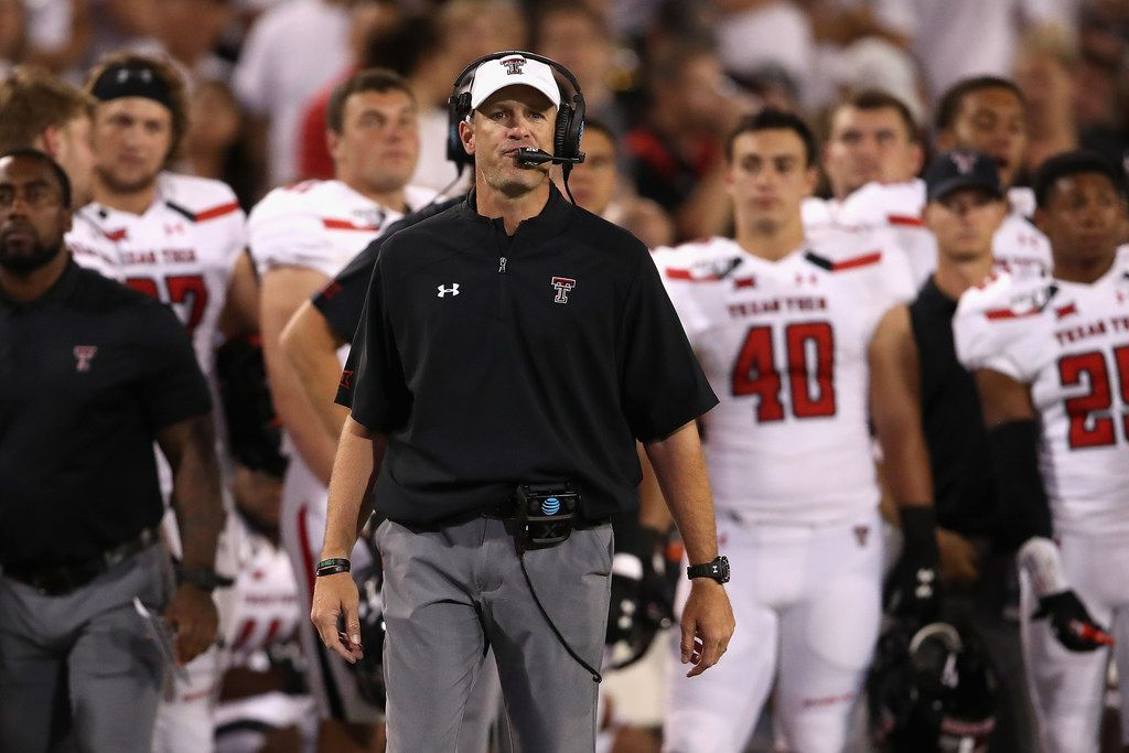 TUCSON, ARIZONA - SEPTEMBER 14:  Head coach Matt Wells of the Texas Tech Red Raiders watches from the sidelines during the second half of the NCAAF game against the Arizona Wildcats at Arizona Stadium on September 14, 2019 in Tucson, Arizona. (Photo by Christian Petersen/Getty Images)