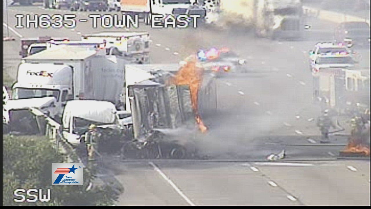 A section of the LBJ Freeway was shut down at 9 a.m. after a fiery 18-wheeler crash.