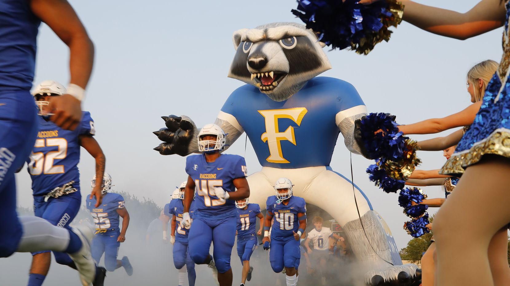 The Frisco High School football team takes the field as Frisco High School hosted Lake Dallas High School at Kuykendall Stadium in Frisco on Friday evening, September 10, 2021. (Stewart F. House/Special Contributor)
