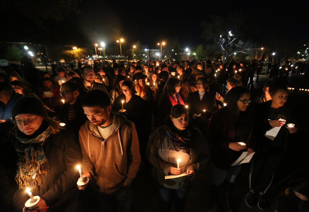 "Baylor students and alumni held a candlelight vigil outside the home of then-Baylor University President Ken Starr in February in what organizers called a ""Survivors' Stand."""