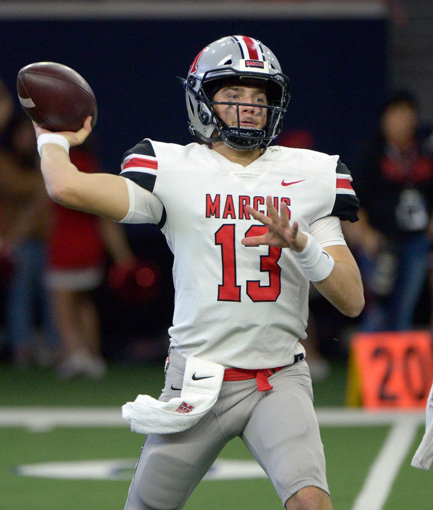 Flower Mound Marcus quarterback Garrett Nussmeier (13) throws a pass in the first half of a Class 6A Division II area round high school playoff football game between Flower Mound Marcus and Lake Highlands, Saturday, Nov. 23, 2019, in Frisco, Texas. (Matt Strasen/Special Contributor)
