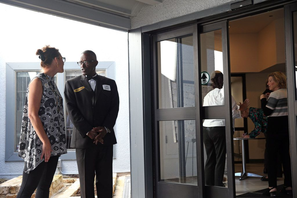(From left) Director of marketing Carla Goss speaks with resident Bobby Holmes before the ribbon cutting at the St. Jude Center in Dallas on Wednesday, October 10, 2018. The center can house more than 100 homeless senior citizens. (Daniel Carde/The Dallas Morning News)