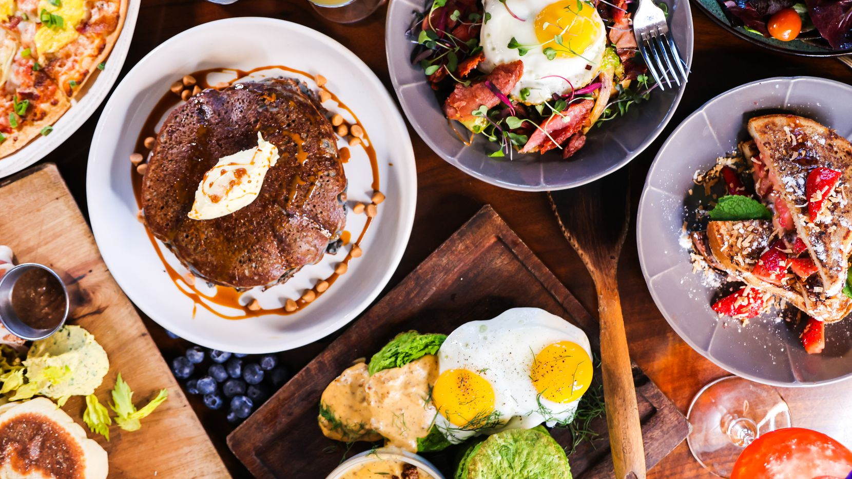 Encina launches a new brunch menu in time for Mother's Day. From left, blue corn pancakes, biscuits and gravy, beet and avocado salad and stuffed French toast.